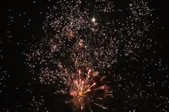 Fireworks in the sky during new year celebration in gdynia, poland. New year fireworks Stock Photography