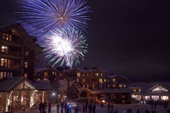 New Year Fireworks on the snow Stock Photos
