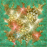 New Year fireworks and spruce branch vector Stock Photography