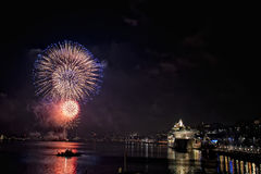 New year fireworks in stockholm harbor sweden Royalty Free Stock Photography