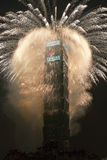 New Year fireworks on Taipei 101 Royalty Free Stock Images
