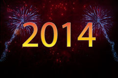 New Year 2014 fireworks. With text Royalty Free Stock Images