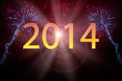 New Year 2014 fireworks. With text Stock Image
