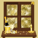 New Year fireworks and window vector Royalty Free Stock Photos