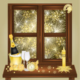 New Year fireworks and window vector. New Year fireworks and window  happy  backgrounds Vector illustration Stock Images