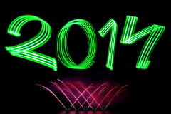 New Year 2014 with Fireworks Stock Photo