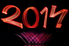New Year 2014 with Fireworks Stock Image