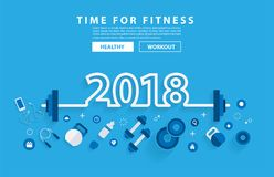 2018 new year fitness concept workout with equipment Royalty Free Stock Photo