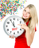 New Year 2017 Five to twelve woman big clock party decoration Stock Photography