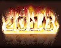 New 2016 Year flame fire background. New 2016 Year flame fire vector background Royalty Free Stock Image