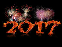 New year 2017 flame. Royalty Free Stock Photo