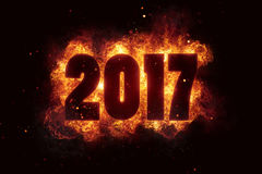 New year 2017 flames fire explosion explode. Text Royalty Free Stock Photo