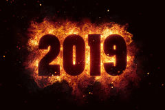 New year 2019 flames fire explosion explode. Text Stock Photography