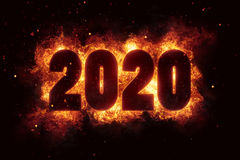 New year 2020 flames fire explosion explode. Text Royalty Free Stock Photos