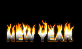 NEW YEAR! Flaming NEW YEAR. Stock Images