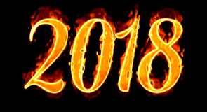 New Year 2018 Flaming Number On Black Background/. Happy New Year 2018 with flaming fire burn and the black background isolated Stock Photos
