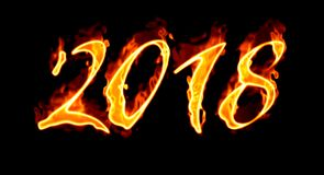 New Year 2018 Flaming Number On Black Background/. Happy New Year 2018 with flaming fire burn and the black background isolated Royalty Free Stock Image