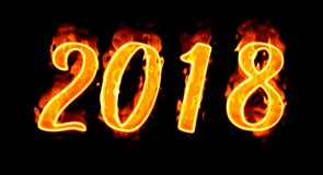 New Year 2018 Flaming Number On Black Background/. Happy New Year 2018 with flaming fire burn and the black background isolated Stock Images