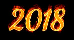 New Year 2018 Flaming Number On Black. Happy New Year 2018 with flaming fire burn and the black background isolated Royalty Free Stock Photos