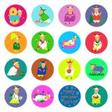 New year flat icon goat. Color vector graphic illustration design Royalty Free Stock Photos