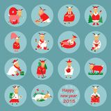 New year flat icon goat Stock Images