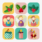 New year flat icon set of candles, angels and christmas holly berries Stock Images