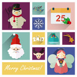 New year flat icon set of 10 christmas elements part five Stock Images