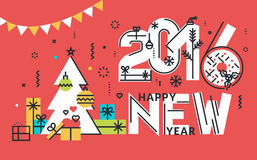 New Year flat line design concept for greeting card. Web banner, marketing material Stock Photo