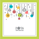 New Year flat line design greeting card Stock Photos