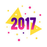 New Year 2017 flat style design concept for banner Stock Image