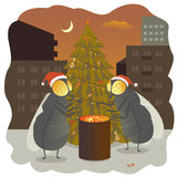 New Year flies fir-tree holiday gala day illustration fire warm. Cartoon conversation Royalty Free Stock Photos