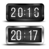 New Year. Flip clock as counter for 2015-2016-2017 new year countdown. Vector illustration Royalty Free Stock Images