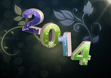 New Year 2014. Floral background for incoming new year 2014 Royalty Free Stock Images
