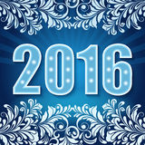 New 2016 year floral card. Blue template Royalty Free Stock Photos