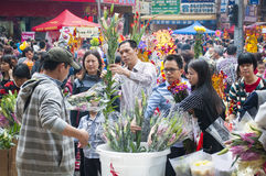 New Year flower market Stock Photo