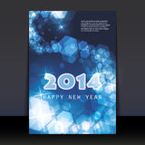New Year Flyer or Cover Design - 2014. Blue New Year's Card, Cover or Background Design in Freely Scalable and Editable Vector Format Royalty Free Stock Photo