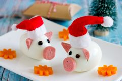 New Year 2019 food concept - pig from egg. Like a symbol of chinese calendar zodiac animal royalty free stock image