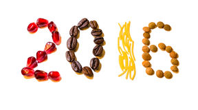 New year food digits. From different grains on white background Stock Photos