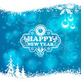 New Year Frame. With Clock, Glass, Bauble, Tree and Snowflake on Blurred Bokeh Background. Vector Template for Flyers and Brochure vector illustration