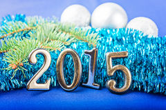 New Year frame with  fir decorations Stock Photo