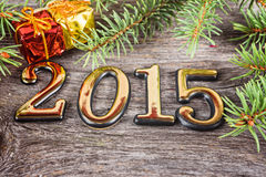 New Year frame with  fir decorations and boxes Royalty Free Stock Photos