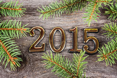 New Year frame with  fir decorations Royalty Free Stock Photo