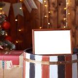 New Year. Frame. Gift. Christmas interior. Christmas tree stock photo