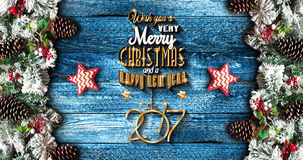 2017 New Year  Frame with green pine, colorful baubles and stars Royalty Free Stock Image