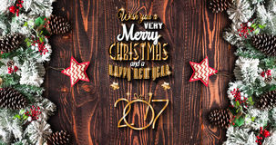 2017 New Year  Frame with green pine, colorful baubles and stars Royalty Free Stock Photo
