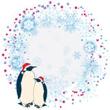 New Year frame with penguins Royalty Free Stock Photo