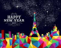 New year 2015 France poster design. Happy new year greeting card or poster design with colorful triangle Paris skyline and vintage label illustration. EPS10 Royalty Free Stock Photos