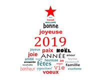 2019 new year french word cloud greeting card in the shape of a christmas tree royalty free stock photo