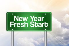 New Year Fresh Start. Green road sign, business concept vector illustration