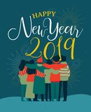 New Year 2019 friend people group greeting card. Happy New Year 2019 greeting card illustration of young people friend group hugging together with fireworks in stock illustration